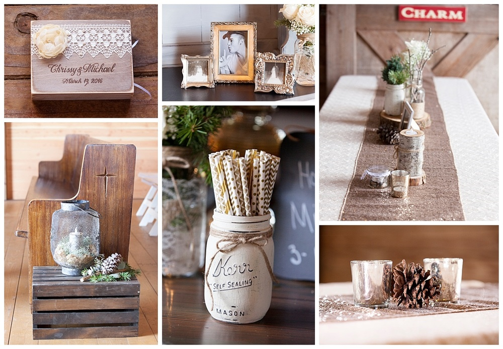 Every detail at this country chic wedding was thought of, from a custom made wedding box, to gold drinking straws, to the cute pinecone table decorations (which of course went perfectly with the glittering candle holders and table runners).