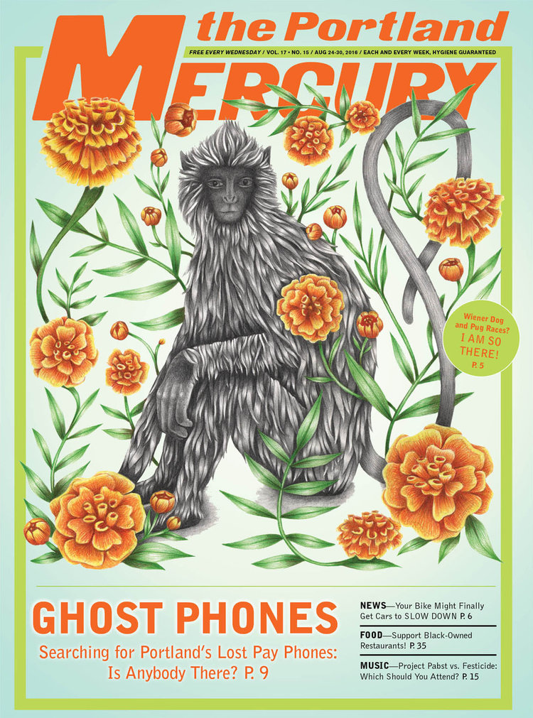 "A drawing that was part of the group show ""Flora"" at  Land  gallery (curated by Susie Ghahremani) and appeared on the cover of the  Portland Mercury  in conjunction with the show."