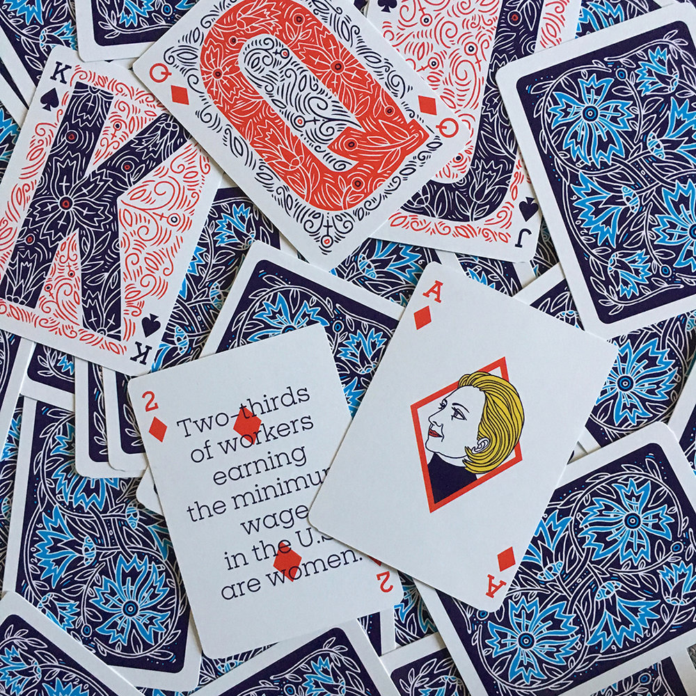 Playing card deck for Hillary Clinton's presidential campaign.  Design: Jennifer Kinon/OCD Agency, Hillary for America design team