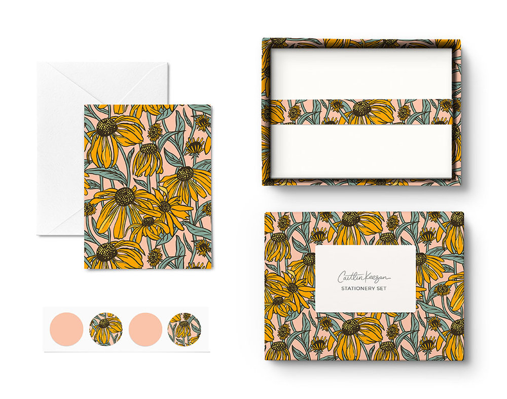 Stationery set mockup using one of my  patterns