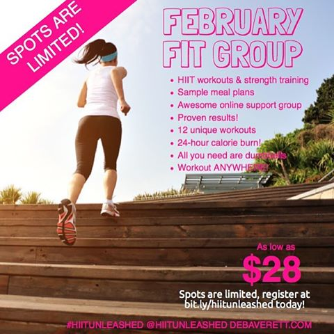 Don't miss your chance-- I still have 2 spots left in my February group. If what you've been doing is showing little to no results, give my program a try! I just had a new client sign up last month and in 4 weeks she's lost 9 pounds. She only has 3 lbs. to go before she's back to where she was before having 3 kiddos. Amazing, right?!! (She signed up for the 1-on-1 program with meal plans). I'll deliver 3 unique workouts a week to a private Facebook group with video tutorials so you know exactly how to do the exercises. PLUS, I'm available for any questions. It's like having a trainer for the price of less than 1/2 a session (seriously! At the club I work, I charge $80 an hour for personal training sessions!). All you need are a set of dumbbells (and really, we can always get creative there too... soup cans, water bottles, etc). Want to see what a workout is like? Visit my website (link in profile) and I promise I've gotten a little better at recording videos. Or atleast I hope I have. LOL :)
