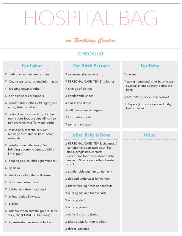 hospital bag or birthing center checklist coreen murphy
