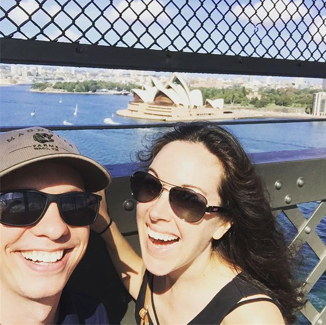Playing catch-up... Day 2 in Sydney was epic. Explored the Rocks market, walked the #sydneyharborbridge , Mike found an old pub, we made some new friends at the #sydneyfishmarket , then had a beautiful dinner @rockpoolbarandgrill ! Day 3 was better though... #sydney #travel #husbandtime #bestwaytohit10000steps #waitwehit20000 #calvessosore #butmyheartishappy