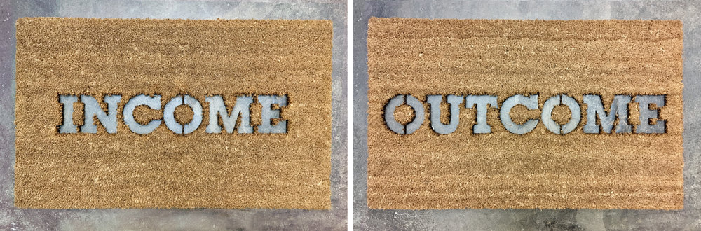 Kim Beck, Income / Outcome, Door mats,  2017