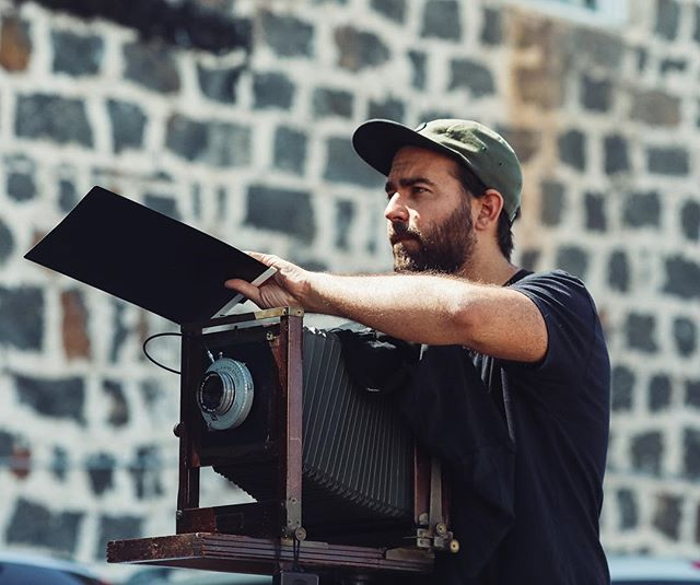Nice shot of Chris Rohrer @thunderhug shading his antique 8x10 camera. Check our insta story for more from this shoot, and read the full article in the film issue of Chinatown Now, coming soon!  All photos by @samantheeyo 💕