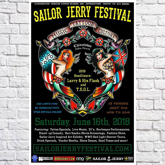 The time has come again! Head down to Chinatown tonight for some incredible art, great music, and even the chance to win a shiny new Harley-Davidson. Check out sailorjerryfestival.com for schedule and info!