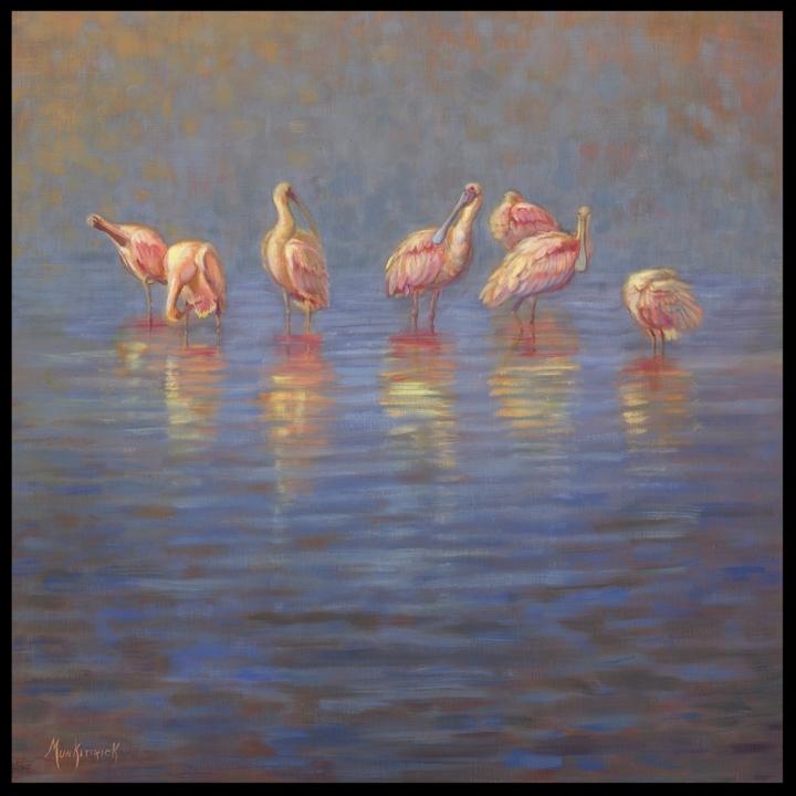 Pink on Blue   30 x 30  Oil on linen