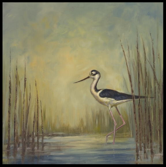 Elegant Stepper (Stilt)   18 x 18   Oil on Linen   $750