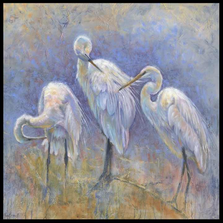 Egrets Preening    36 x 36   Oil    SOLD