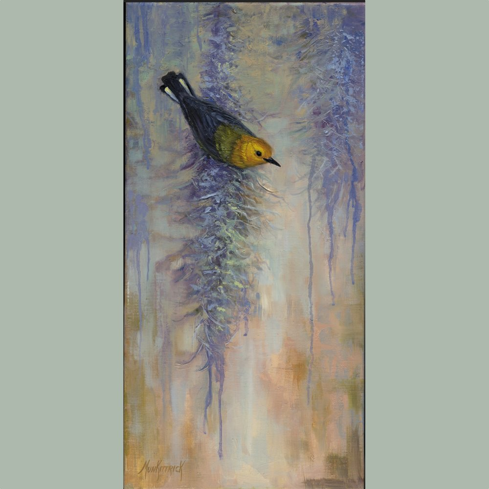 Mossy Perch (Prothonatary Warbler)    10 x 20   Oil on linen    $450