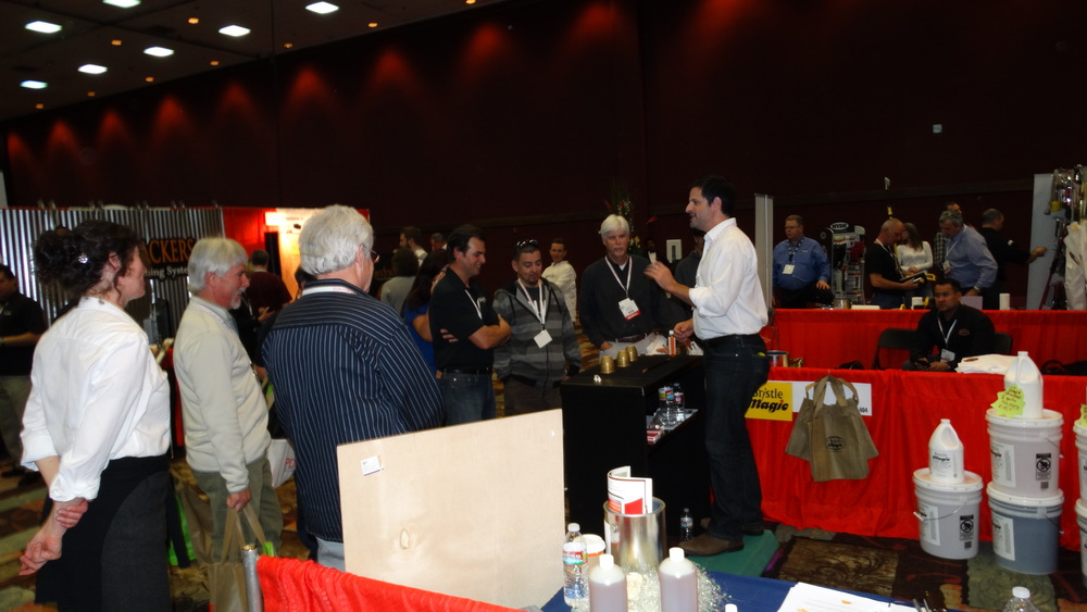 Stopping traffic at a trade show exhibit in Reno, Nevada.