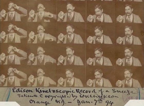 Edison Kinetoscopic Record of a Sneeze, Jan. 7, 1894.  The original paper print of the first film by Thomas Edison   created for copyright purposes.