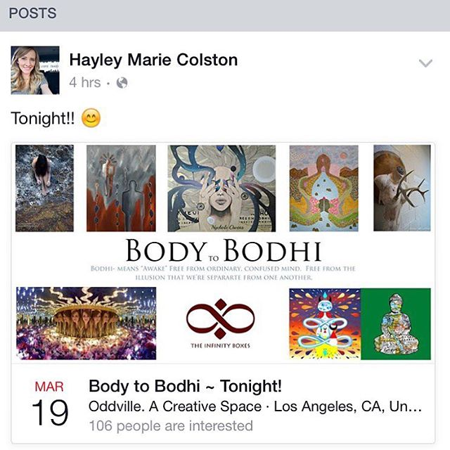 #BodytoBodhi #artshow #tonight at #Oddville #DTLAartsdistrict  734 S. Main St., Los Angeles 6-11pm  Live #bodypainting from 7:30-10!! :) This show's focus is on the perspective that frees us from our confused and separated selves, the connection of all bodies to one another and the universe, and the importance of having a body to achieve bodhi.  FB event search: Body to Bodhi  #artshow #DTLA #body #bodhi #spiritual #compassion #oneness #paintings #soulful #ethereal #pathtoenlightenment #bonsai #infinityboxes #bodypainting #tree #bodhitree #bodytree #roots #growth #sculptures #photography
