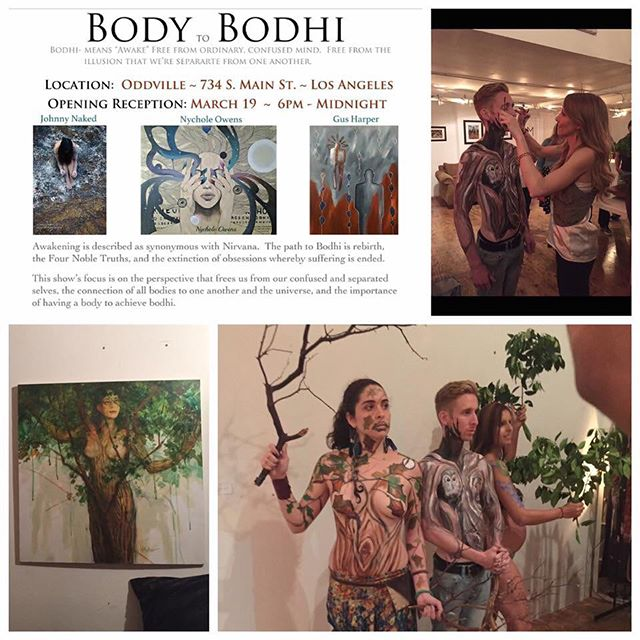 Pic collage by Stephen Pincus from opening night. #bodypainting of a #body #bodhitree  #BodytoBodhi #artshow #dtlaartsdistrict #DTLA #Oddville #losangelesartsdistrict #paintings #photography #3dprintedsculptures #bonsaitrees #bodytree #bodhi #tree  Oddville is open this Mon-Wed from 11am-7pm (11pm on Wed. for our closing reception.) If the doors are locked, ring the doorbell