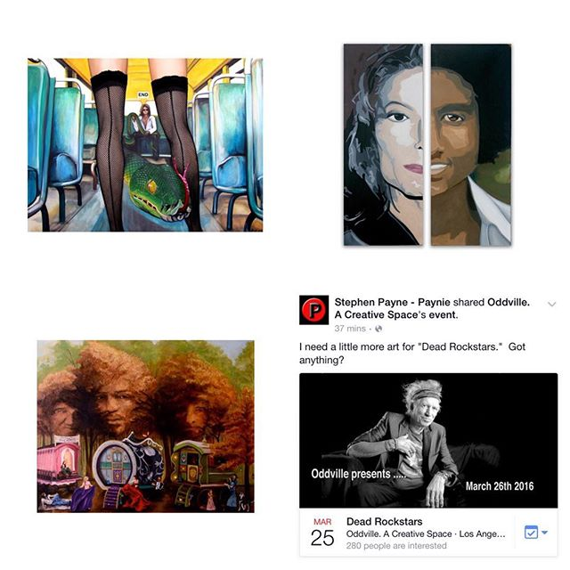 "I'll have these three pieces in the show, ""The End,"" ""MJ,"" and ""Band of Gypsies."" Do you have any pieces? If so, hurry and submit to @payniepaynie at #Oddville !! The show is this Friday-April 14. Submit to: Paynie@mac.com  #deadlock stars #art #show #DTLAartsdistrict #DTLA #losangelesart #losangelesartsdistrict #rockstars #art #Oddville #hayleymarieart"