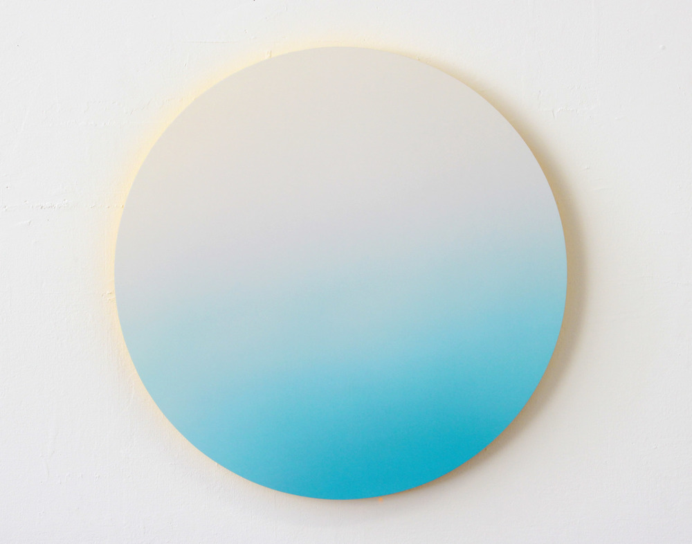 "Sky Gradient, Yellow Light Digital C-Print mounted on Yellow Plexi 19"" Diameter 2013"