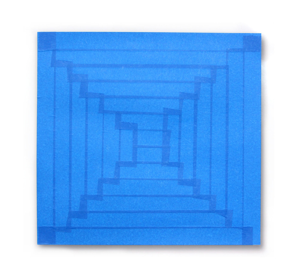 "Blue Tape Shadow Digital C-Print and Painters Tape 20"" x 24"" 2014"