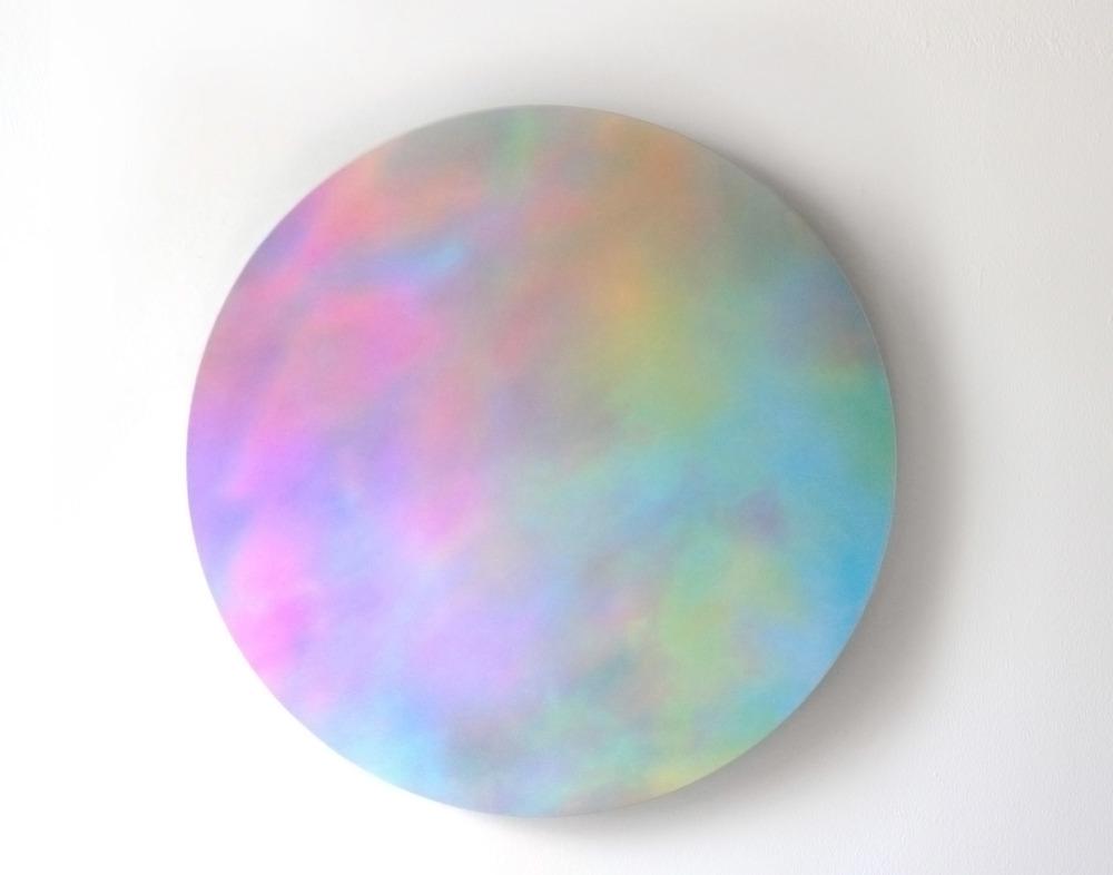 "Opalescence DIgital C-Print mounted on Blue Plexi 19"" Dimeter 2014"