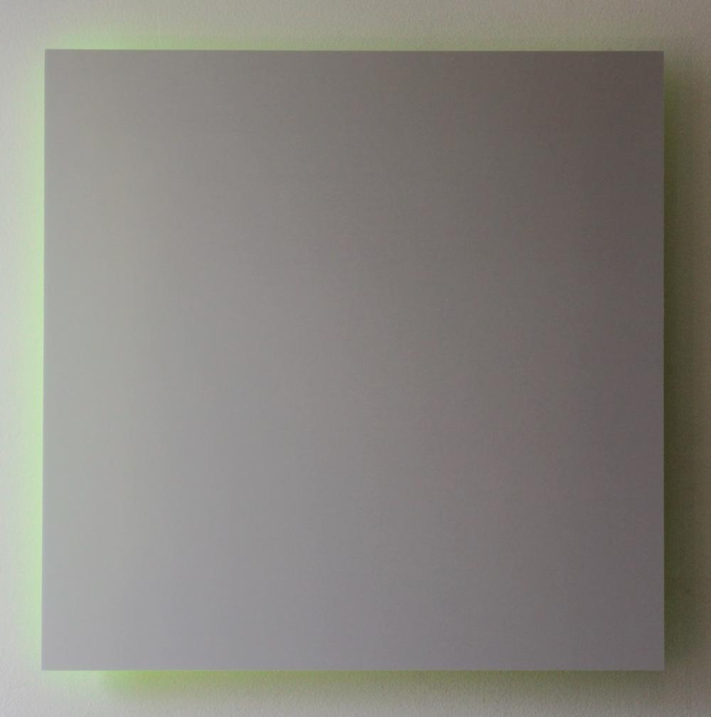 "Gray Sky, Green Light Digital C-Print Mounted on Green Plexi 16"" x 16"" 2013"