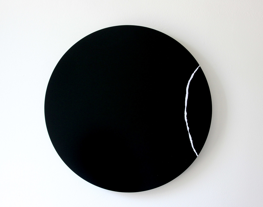 "RIP Ripped Digital C-Print Mounted on Black Plexi 19"" Diameter 2014"