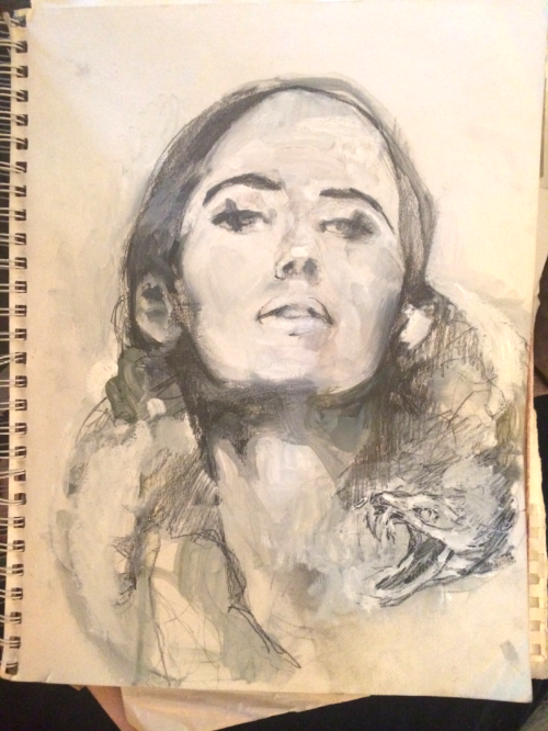 The original sketch. I used a magazine model as reference. The chin raised, eyes looking out and down, at you but through you; is one pose you will see a lot in my work. I find it an endlessly interesting pose for a portrait. It reminds me of how Cleopatra must have looked at you.