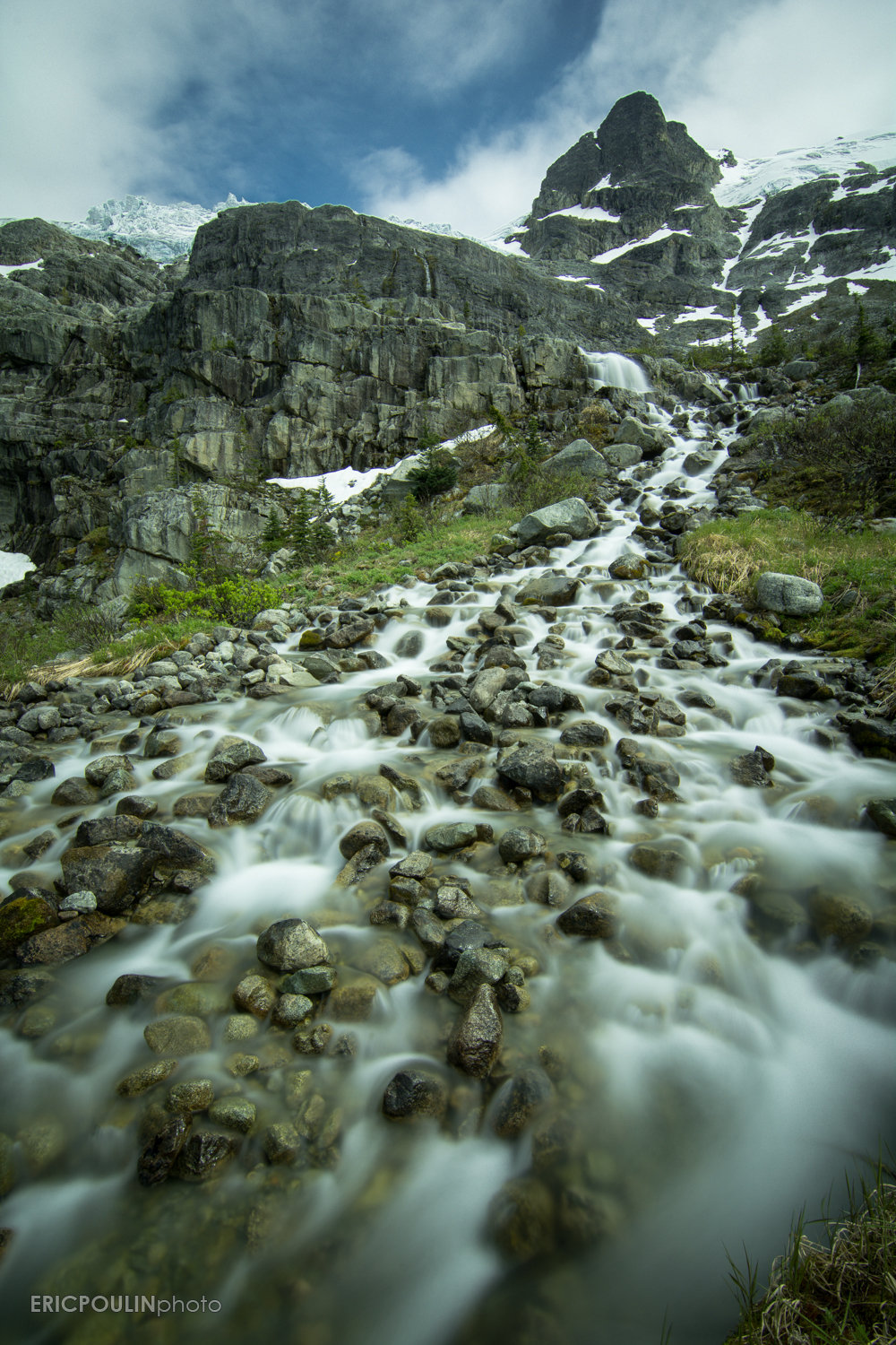 Beautiful glacial streams feeding into the lakes, taken with a 10-stop ND filter
