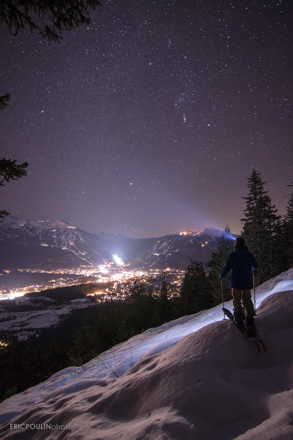 Self-portrait under the stars looking out at Whistler and Blackcomb Mountains