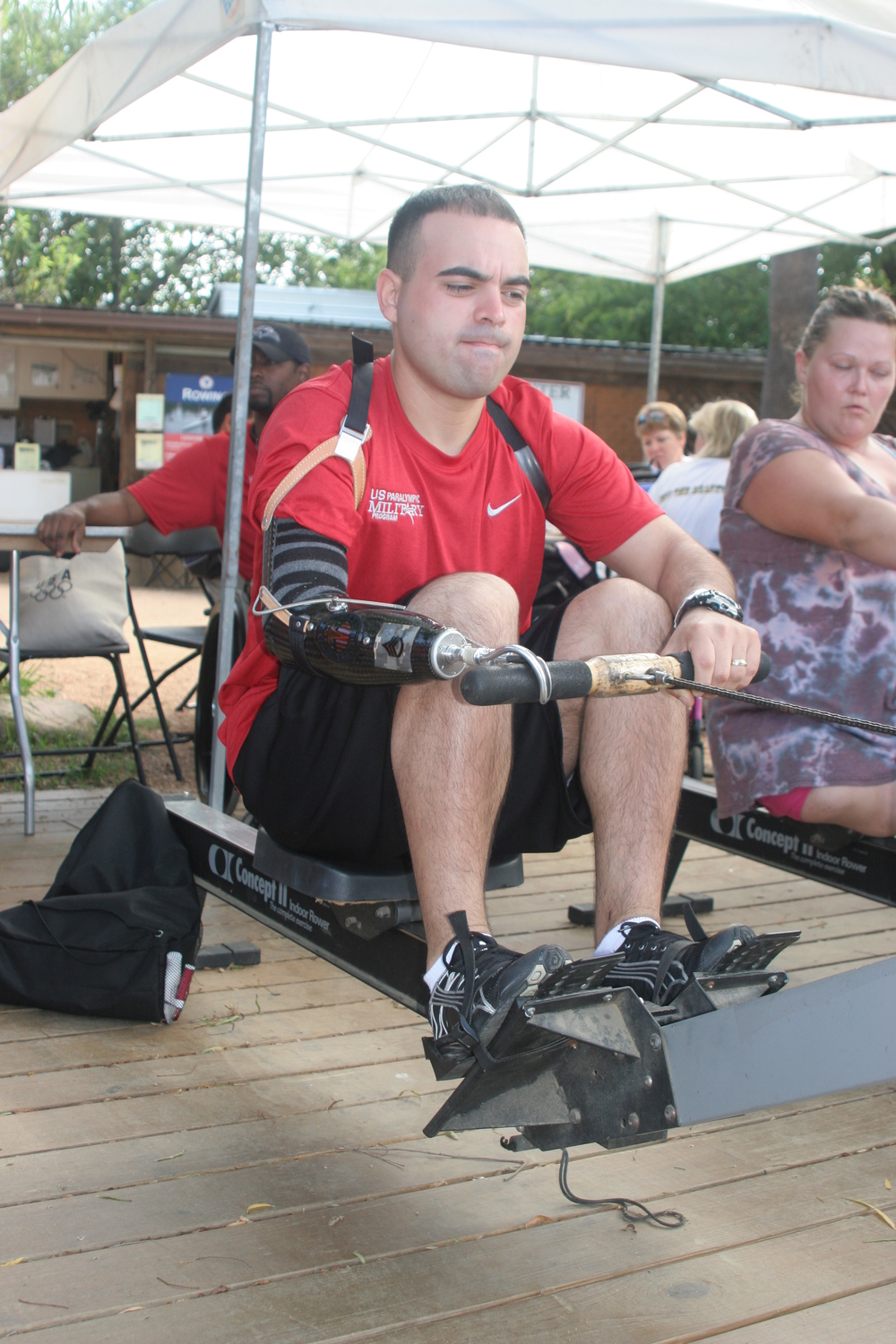 Warrior Veteran works it out on the Erg! -photo Veronica Scheer