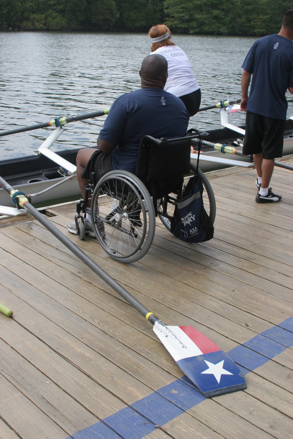 Another Vet ready to get out of the chair & into the boat to row. ~photo: V. Scheer