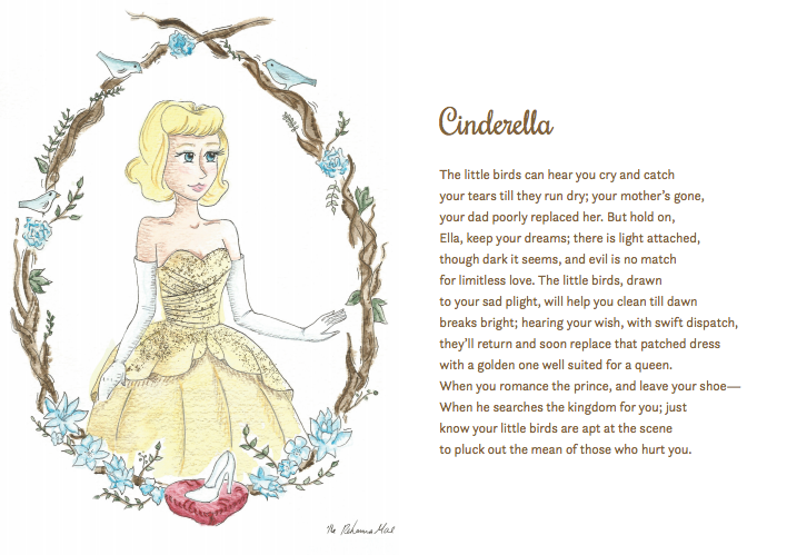 "Here's your first look inside Stories of Enchantment! Enjoy this illustration and sonnet of ""Cinderella."" The book will be launched Monday, April 4th."