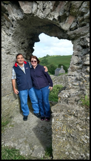 Dr. and Mrs. Woodfine at the Rock of Dunamase in Couinty Laois, Ireland