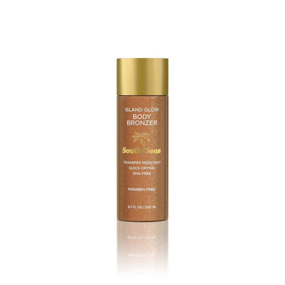 Island Glow Body Bronzer means beautiful bronzed skin instantly! Hide imperfections and look toned & glowy.Transfer resistant and won't bleed through clothes or onto furniture. DHA free.