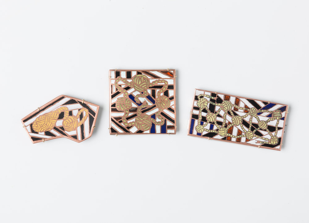 Ropework Champlevé Brooches Enamel, copper, brass, sterling silver, steel 2017-2018