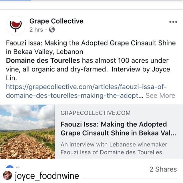 Huge thanks to @joyce_foodnwine for this great article and interview with Faouzi Issa and his winemaking philosophy at Domaine Des Tourelles.  So proud to be representing this fine Lebanese winery in NYC. 🇱🇧🍷 #domainedestourelles #lebanesewine #winesoflebanon #organicwine #nativeyeast #concretetanks