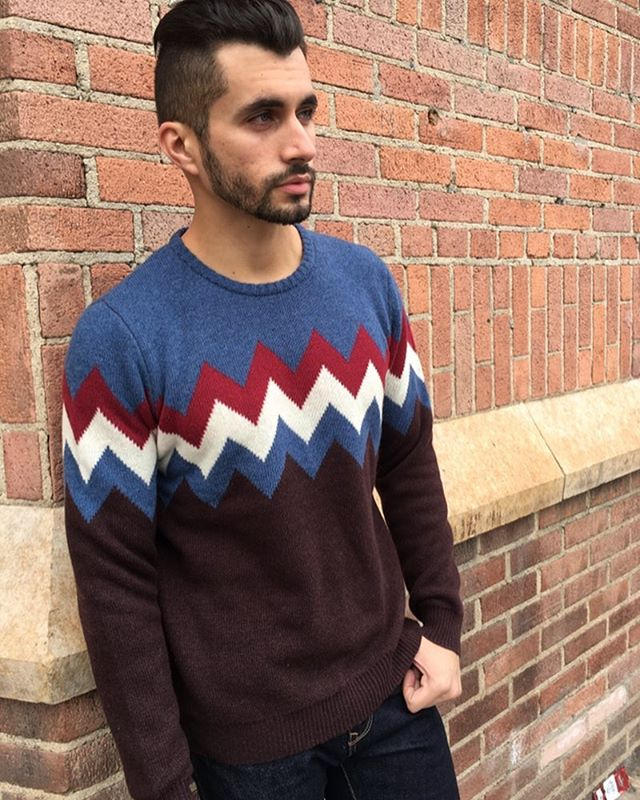 Chevron sweater from our Fall2018 collection #fall2018collection #fall2018 #funsweaters #menssweaters #barque #barquenewyork #menswear #fall18menswear