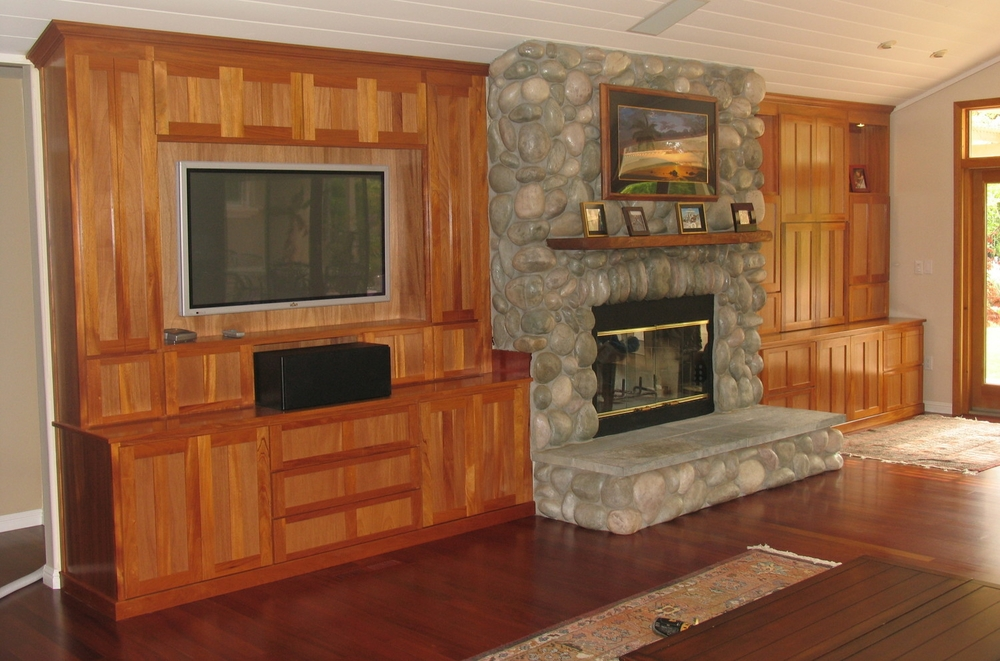 Mahagony home theater and living room cabinets, Los Gatos