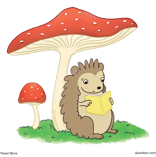 ABamber_Hedgehog_Read_Mushroom