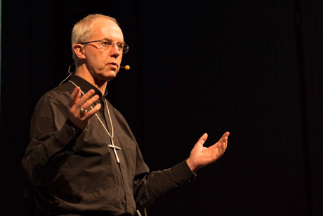 Archbishop Justin Welby addressing the New Wine leadership conference in Harrogate, Yorkshire.      Photo Credit: Jonny Taylor / New Wine