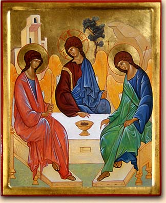 """That God is three persons: Spirit in green to help us grow; Jesus in brown walking in the dirt; the Father in gold who created this beautiful earth."""
