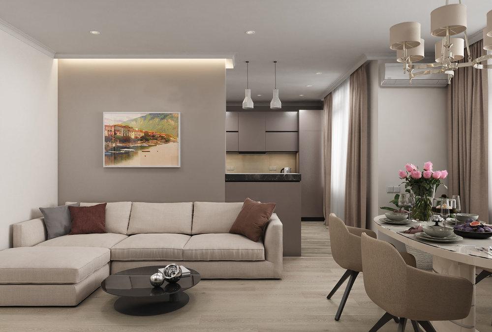 Квартирав пастельных тонах  - Оттенки серого и песочного цветов, минимум деталей, классические элементы мебели и освещения - все этопридает интерьеруквартиры умиротворенную атмосферу и домашний уют.