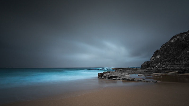 A storm approaching at Turimetta turning the water blue this morning