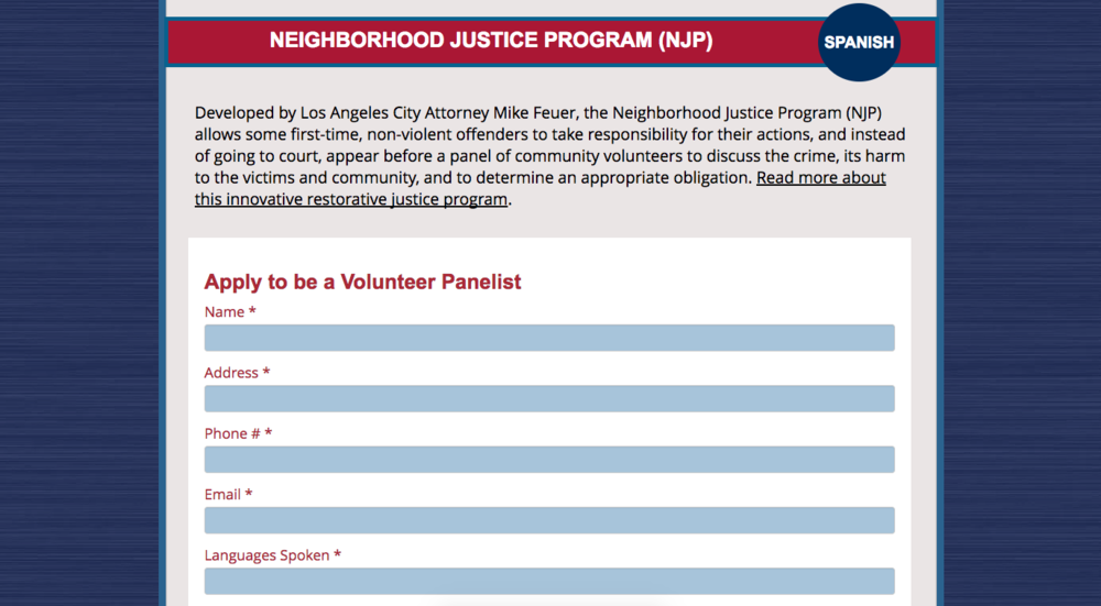Neighborhood Justice Program