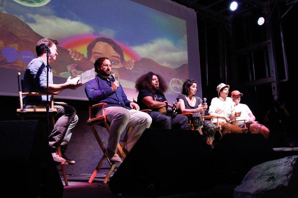 Jash Founders Panel with (left to right) Daniel Kellison, Eric Wareheim, Reggie Watts, Sarah Silverman, Michael Cera and Tim Heidecker