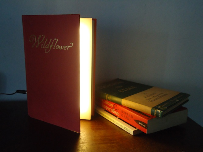 Book lamp. Old book, perspex, LEDs. Givatayim, 2011. Inspired by a design by Steve Hoefer of Grathio Labs.