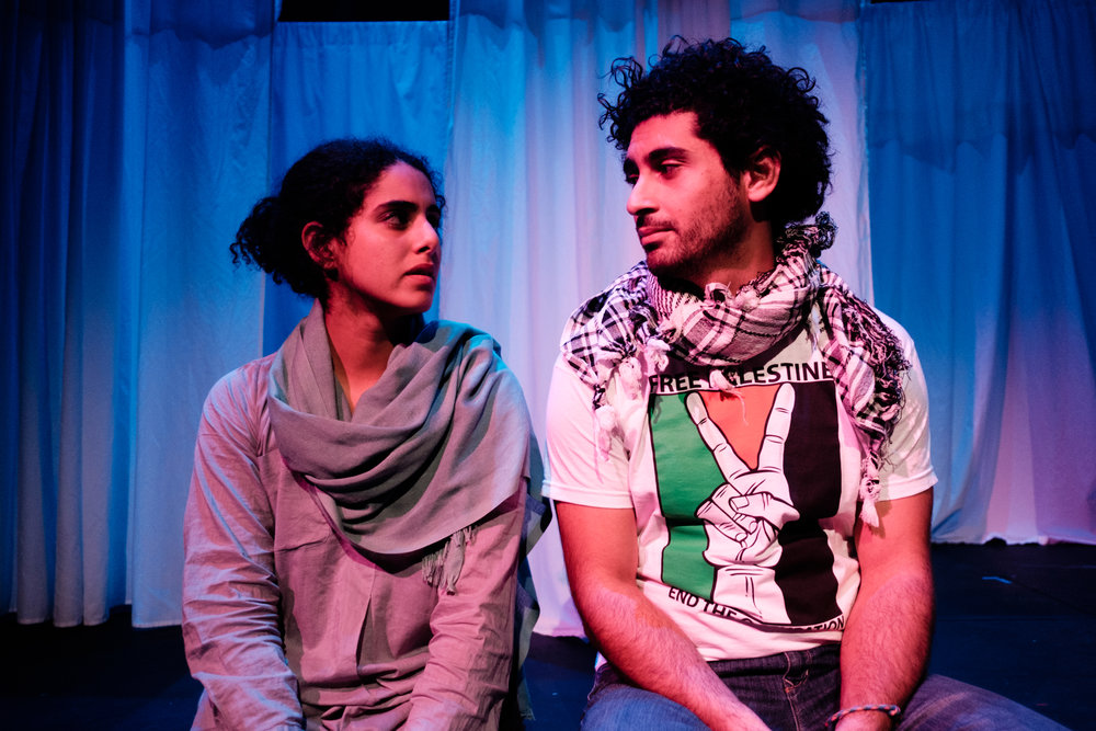 Helana Sawires and Osamah Sami as Jomana and Rami in  Tales of a City by the Sea , La Mama Courthouse. Photo by  Justyn Koh.