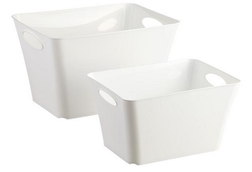 White Taper Storage Bins with Handles
