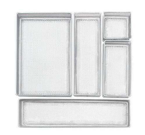 Silver Mesh Drawer Organizer Set