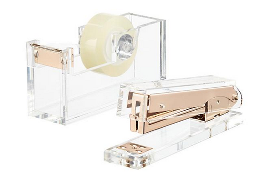 Russell Hazel Acrylic Tape Dispenser and Stapler