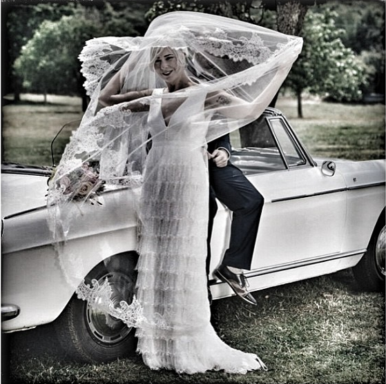#charliebrear #bride  #  French #laceveil and tiered #lace skirt