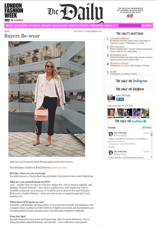 The amazing Erin @Avenue32 rocking our new RTW collection jacket   #lfw     #buyerchoice   @TheLFWDaily  http://ow.ly/BH3D8